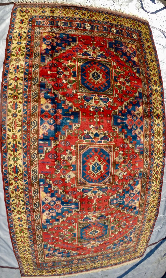 "Vintage Wool on Wool Double Knotted Rug 5'7"" X 10'8"""