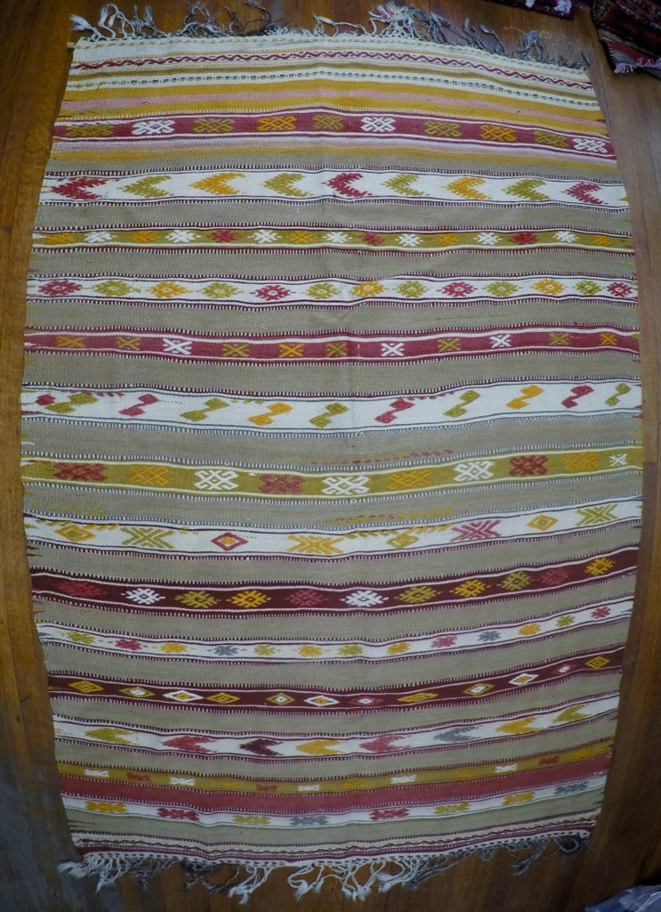"Vintage Wool on Wool Cicim Kilim 4'4"" X 6'4"""