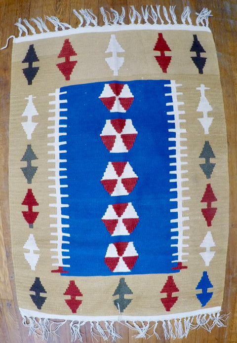 "New Wool on Wool Kilim 2'8"" X 3'10"