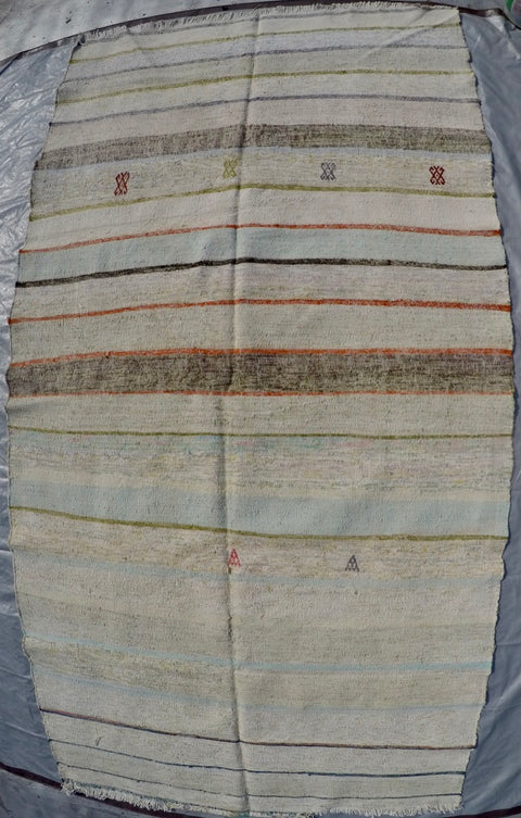 New Handwoven 100% Cotton Scraps Kilim 5'1 X 9'9'