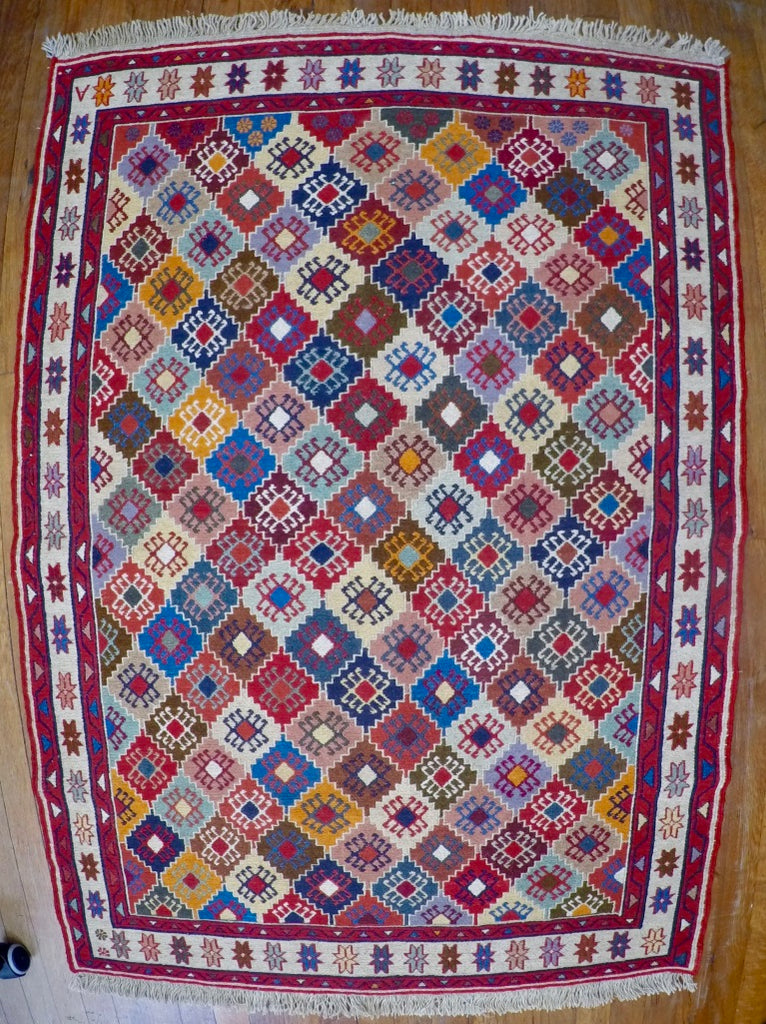 "New Wool on Cotton Rahra Soumak 3'4"" X 4'8"""