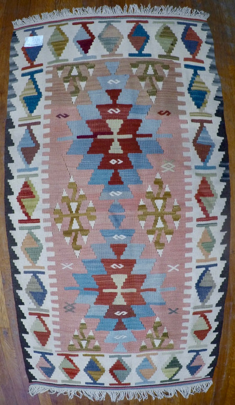 "New Wool on Wool Kilim 2'8"" X 5'2'"
