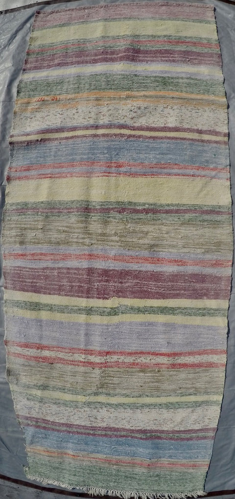 "New Handwoven 100% Cotton Scraps Kilim 3'7"" X 9'6"""