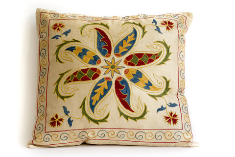 Pure Silk Starfish Suzani Pillow