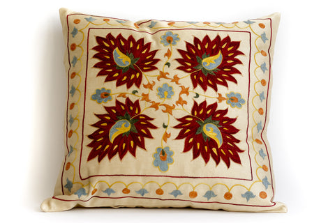 Pure Silk Leaf Suzani Pillow