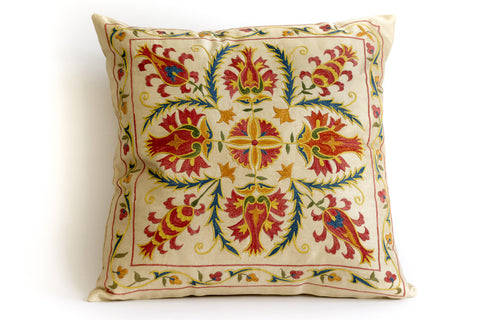 Pure Silk Maiz Suzani Pillow