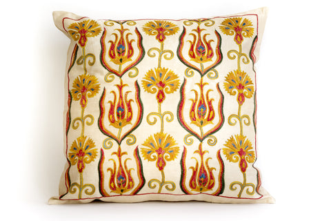 Pure Silk Flower Suzani Pillow