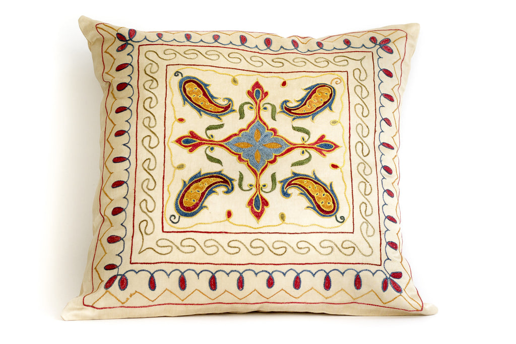 Pure Silk Frame Suzani Pillow