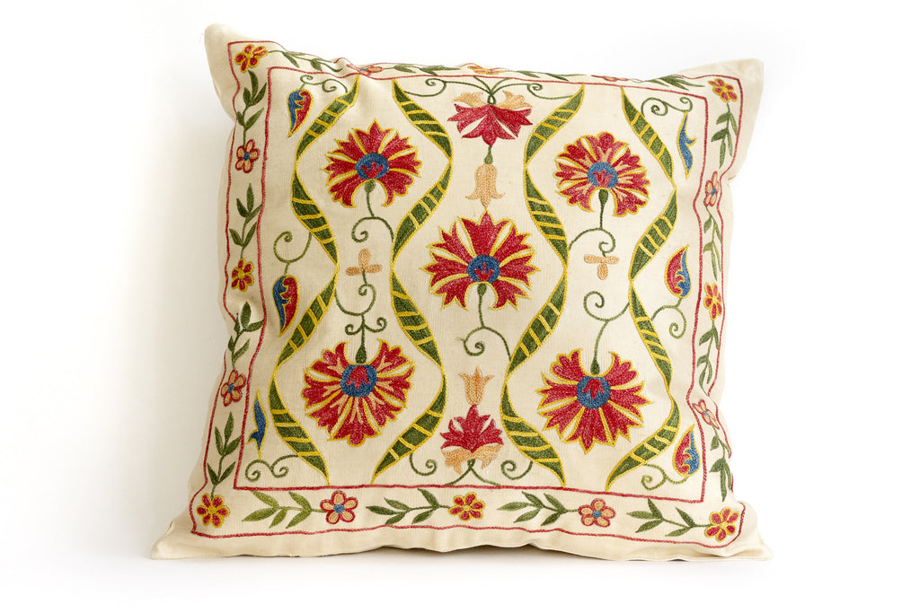 Pure Silk Stream Suzani Pillow
