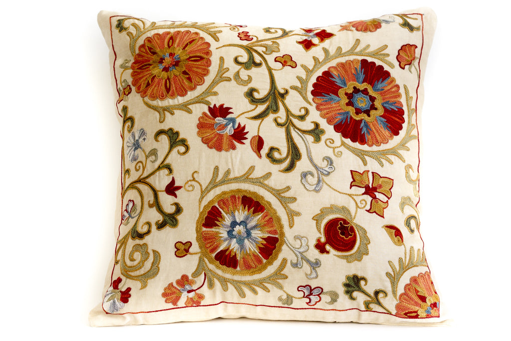 Pure Silk Lilly Suzani Pillow