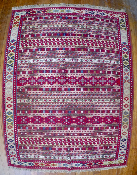 "New Wool on Cotton Rahra Soumak 3'8"" X 4'10"""