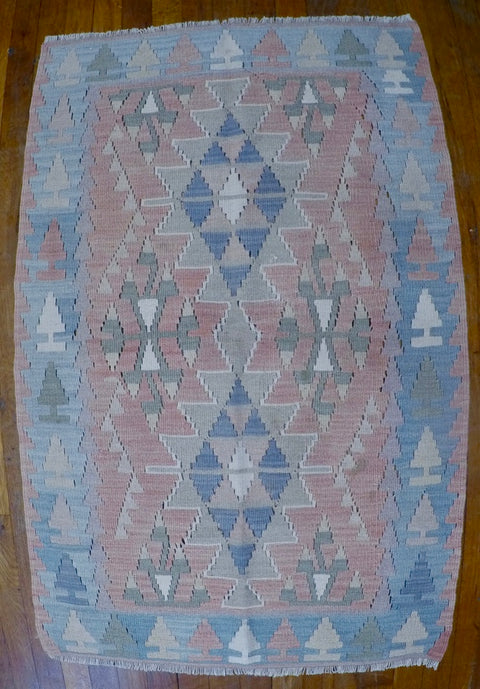 "New Wool on Wool Kilim 2'6"" X 3'10"""