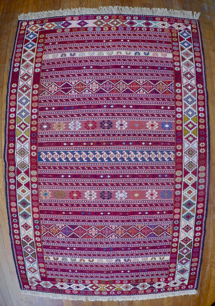 "New Wool on Cotton Rahra Soumak 3'4"" X 5'2"""