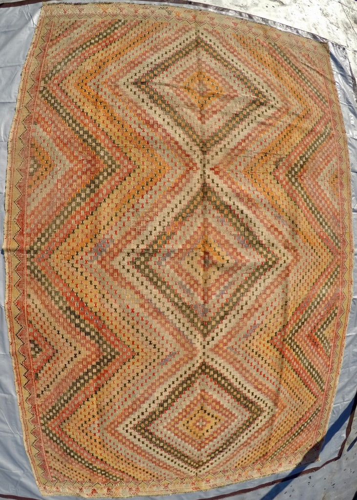 "Vintage Wool on Cotton Cicim Soumak Kilim 6'1"" X 9'6"""
