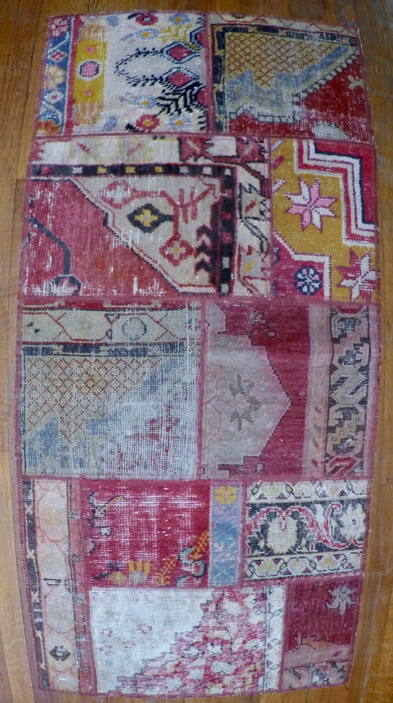 "Vintage Wool on Wool Patchwork Kilim 2'4"" X 5'"