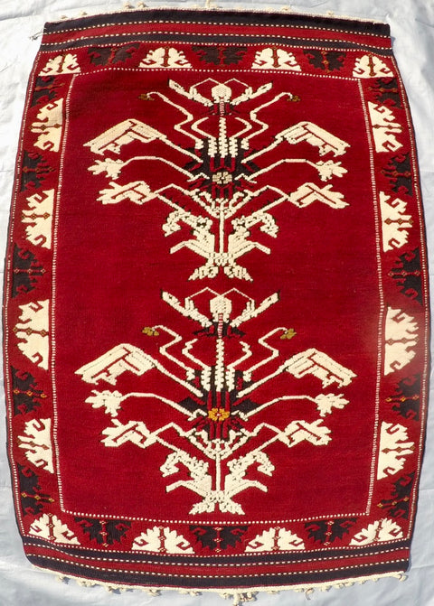 "Vintage Wool on Wool Double Knotted Rug 3'2"" X 4'8"""