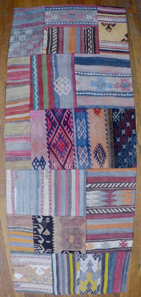 "Vintage Wool on Wool Patchwork Kilim 1'11"" X 5'1"