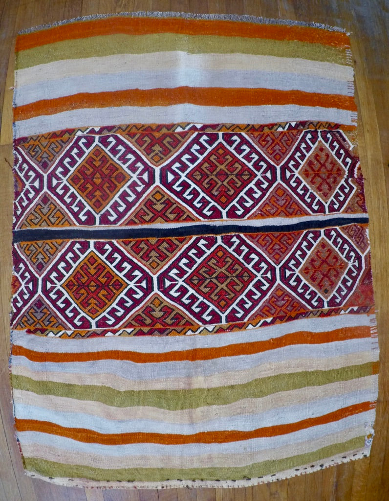 "Vintage Wool on Cotton Nomad Cicim Kilim 2'2"" X 3'5"""
