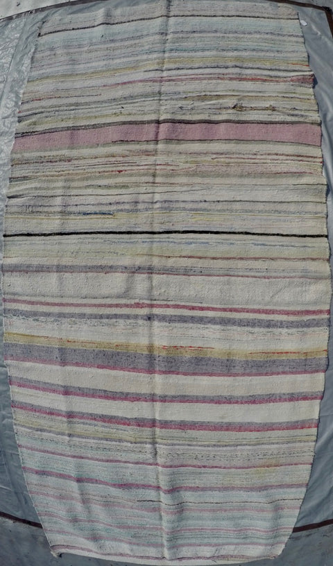 "New Handwoven 100% Cotton Scraps Kilim 4'8"" X 10'4"""