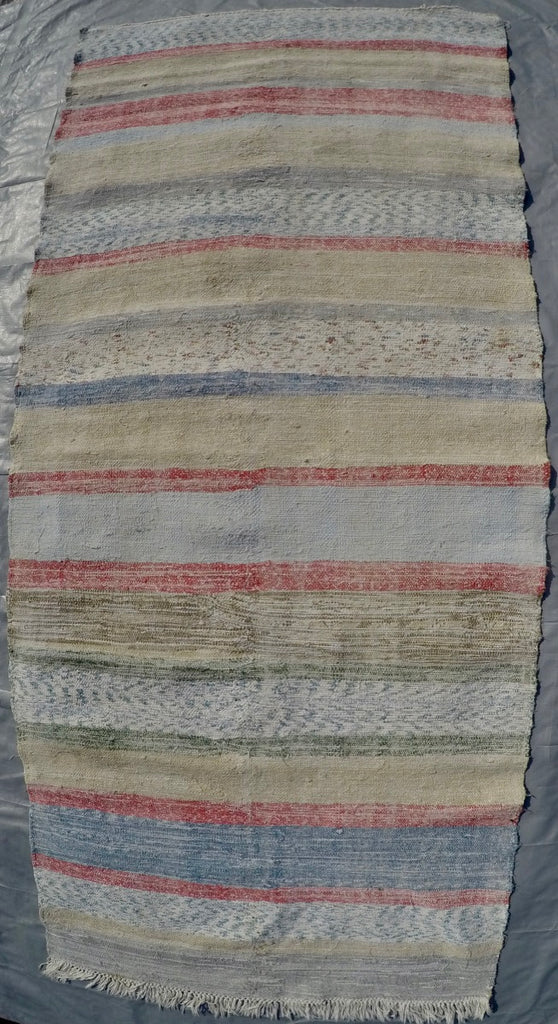 "New Handwoven 100% Cotton Scraps Kilim 3'7"" X 8'2"""