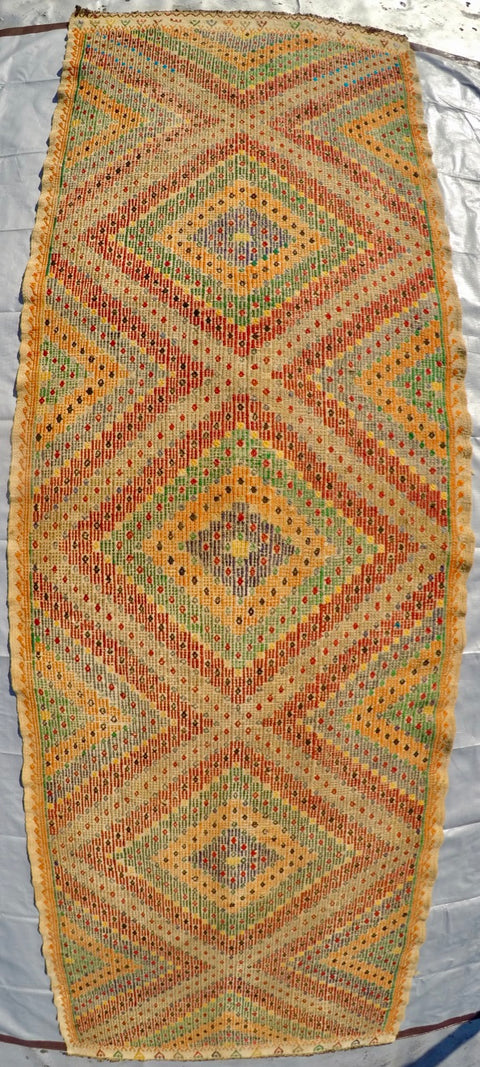 "Vintage Wool on Cotton Cicim Soumak Kilim 3'4"" X 10'4"""