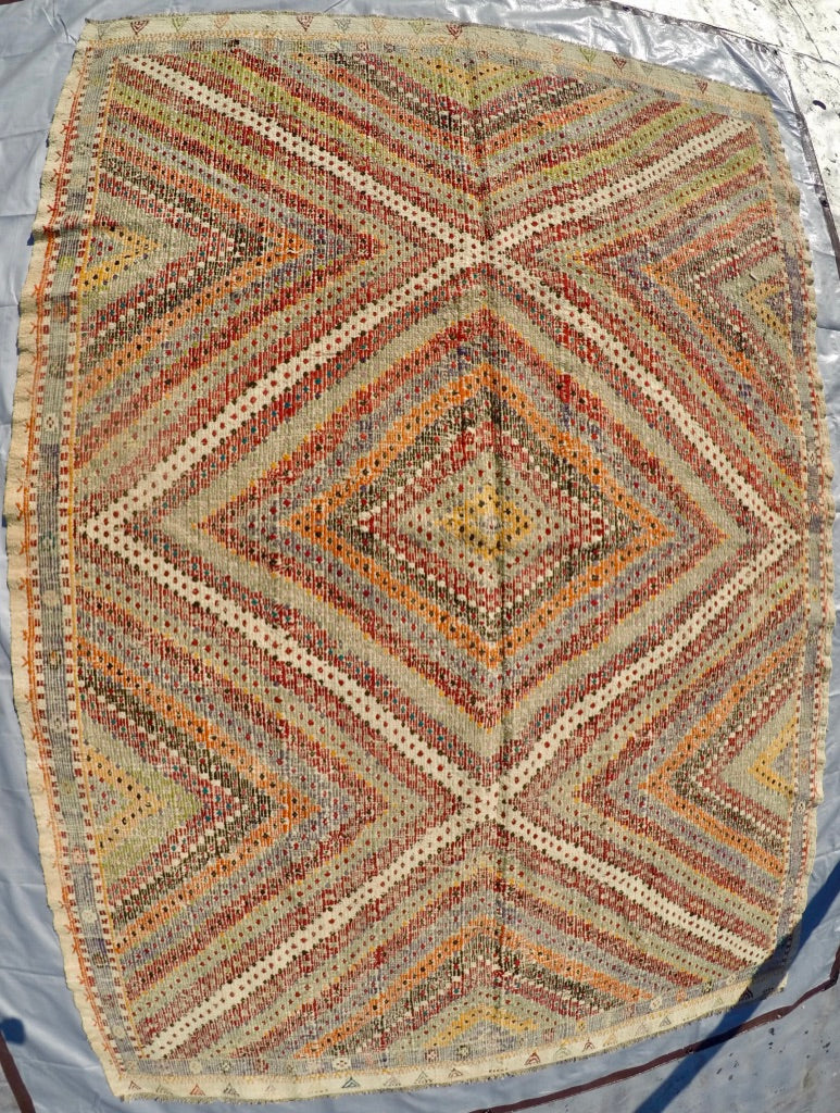 "Vintage Wool on Cotton Cicim Soumak Kilim 6'3"" X 8'11"""