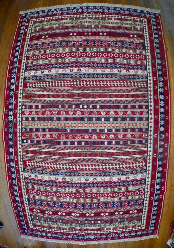 "New Wool on Cotton Rahra Soumak 4'1"" X 6'5"""