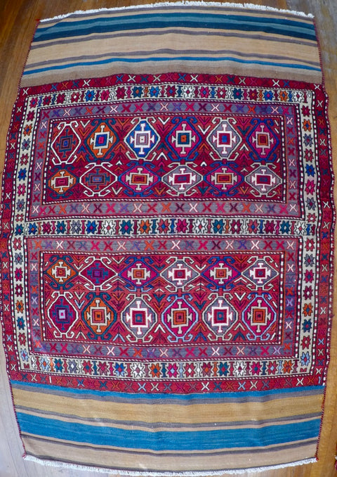 Vintage Wool on Cotton Soumak Soumak 4' X 6'3""