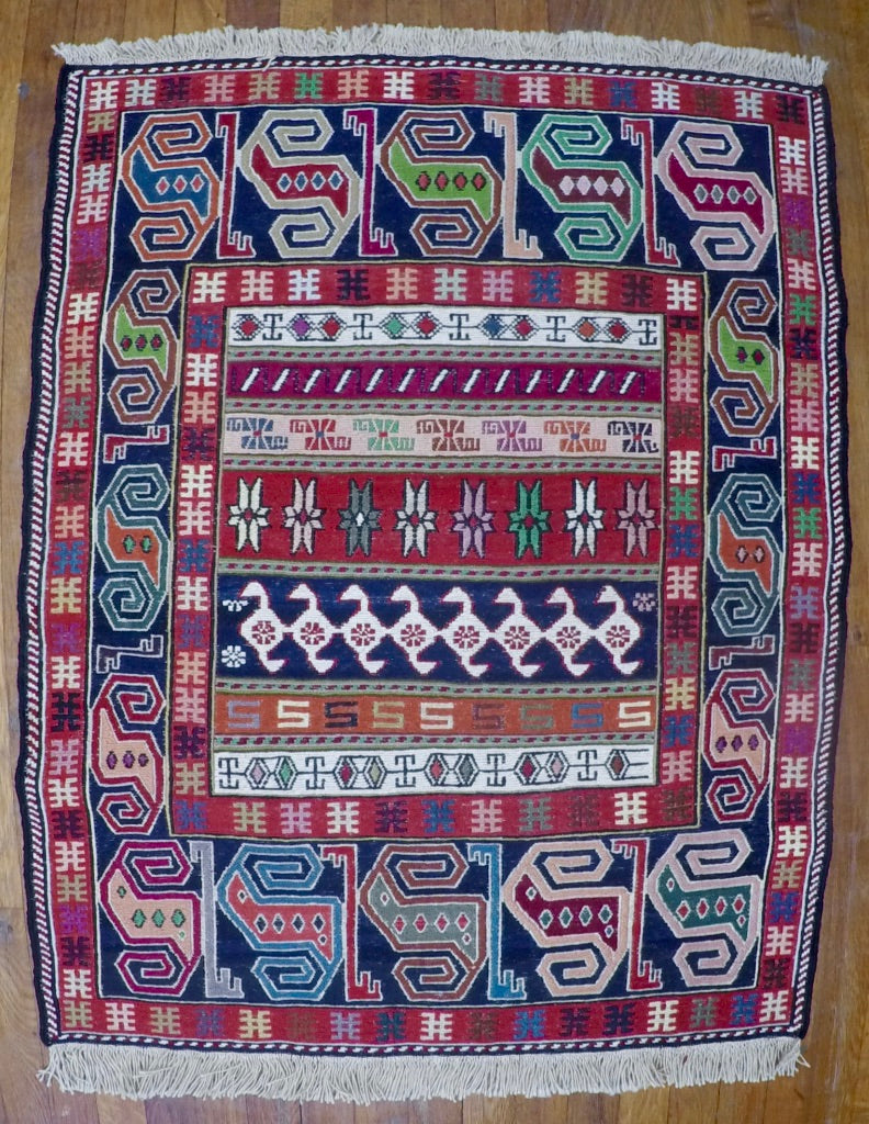 "New Wool on Cotton Rahra Soumak 2'9"" X 3'5"""