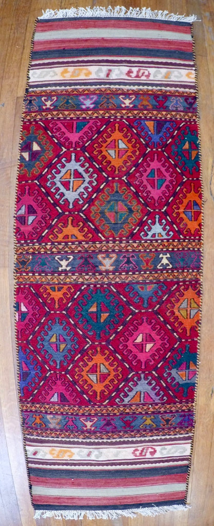 Vintage Wool on Cotton Soumak Soumak 1'10 X 5'10