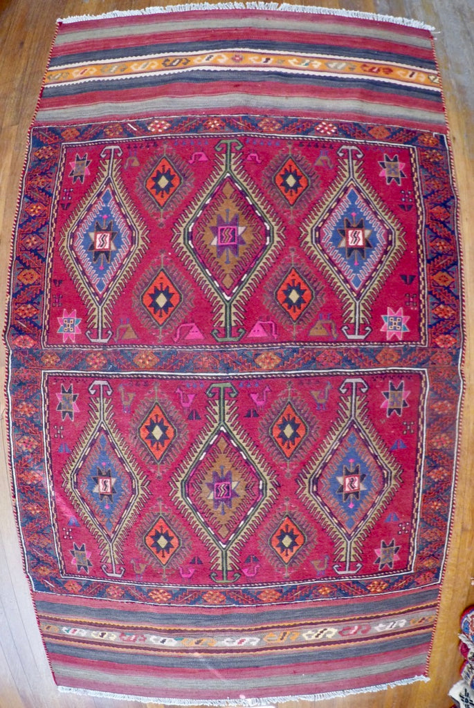 "Vintage Wool on Cotton Soumak Soumak 3'10"" X 6'9"""