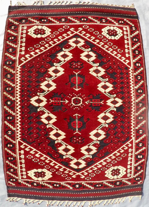 "Vintage Wool on Wool Double Knotted Rug 2'8"" X 4'"