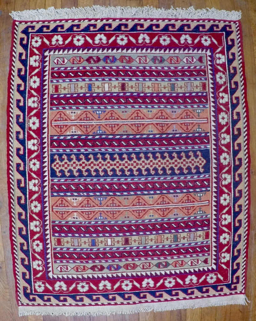 "New Wool on Cotton Rahra Soumak 2'8"" X 3'5"""
