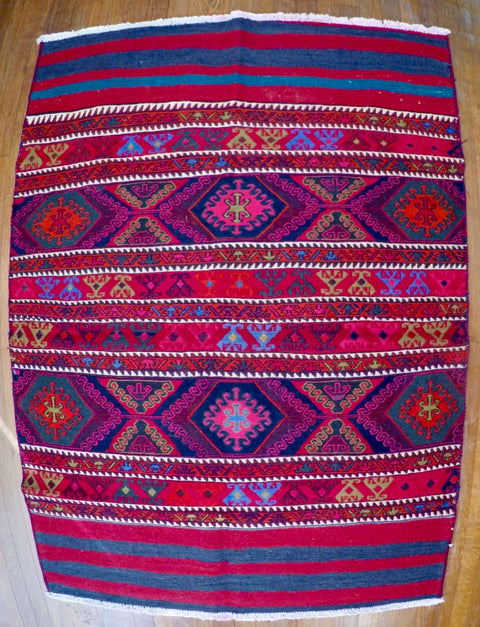 Vintage Wool on Cotton Soumak Soumak 3'9 X 5'3""