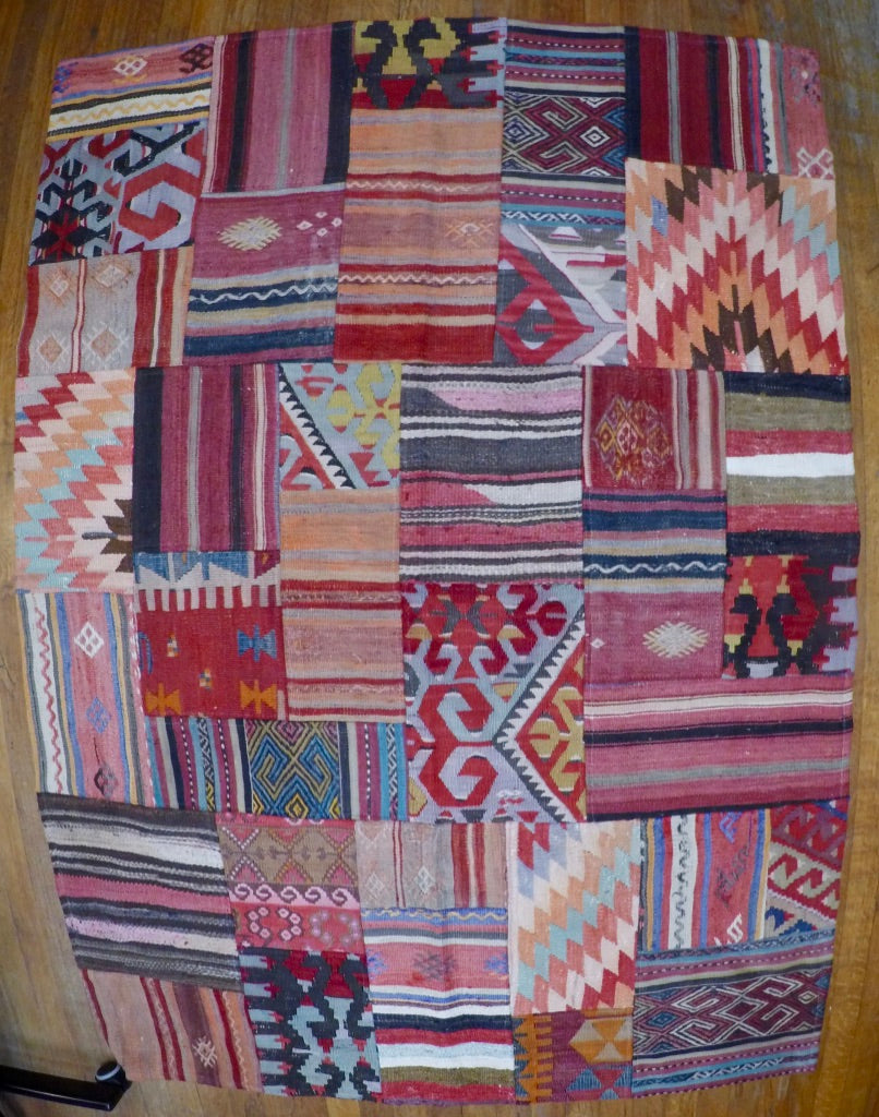 "Vintage Wool on Wool Patchwork Kilim 4'1"" X 5'8"""