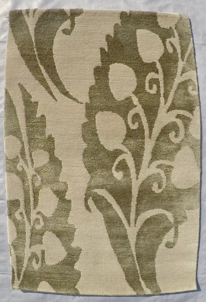 New Silk and Wool on Cotton Hand-knotted Rug 2' X 3'