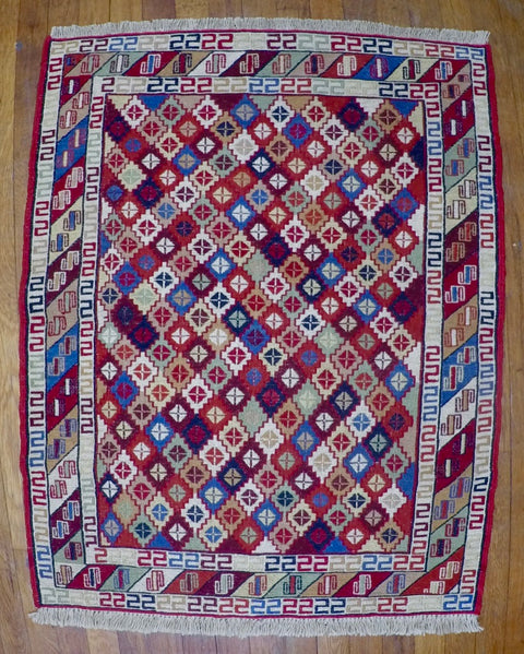 "New Wool on Cotton Rahra Soumak 2'7"" X 3'5"""