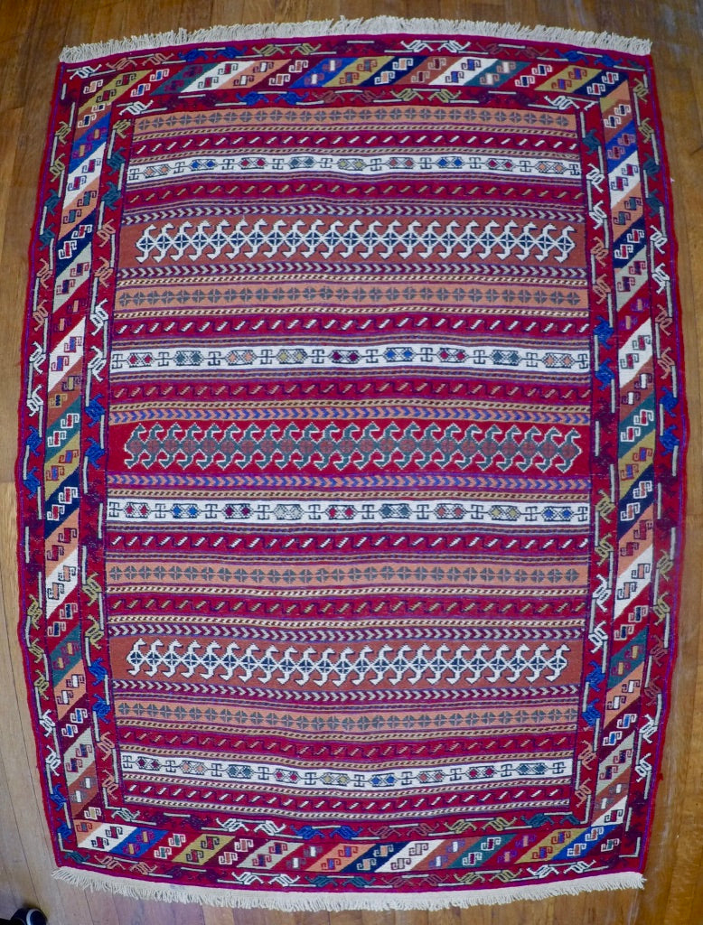 "New Wool on Cotton Rahra Soumak 3'6"" X 5'"
