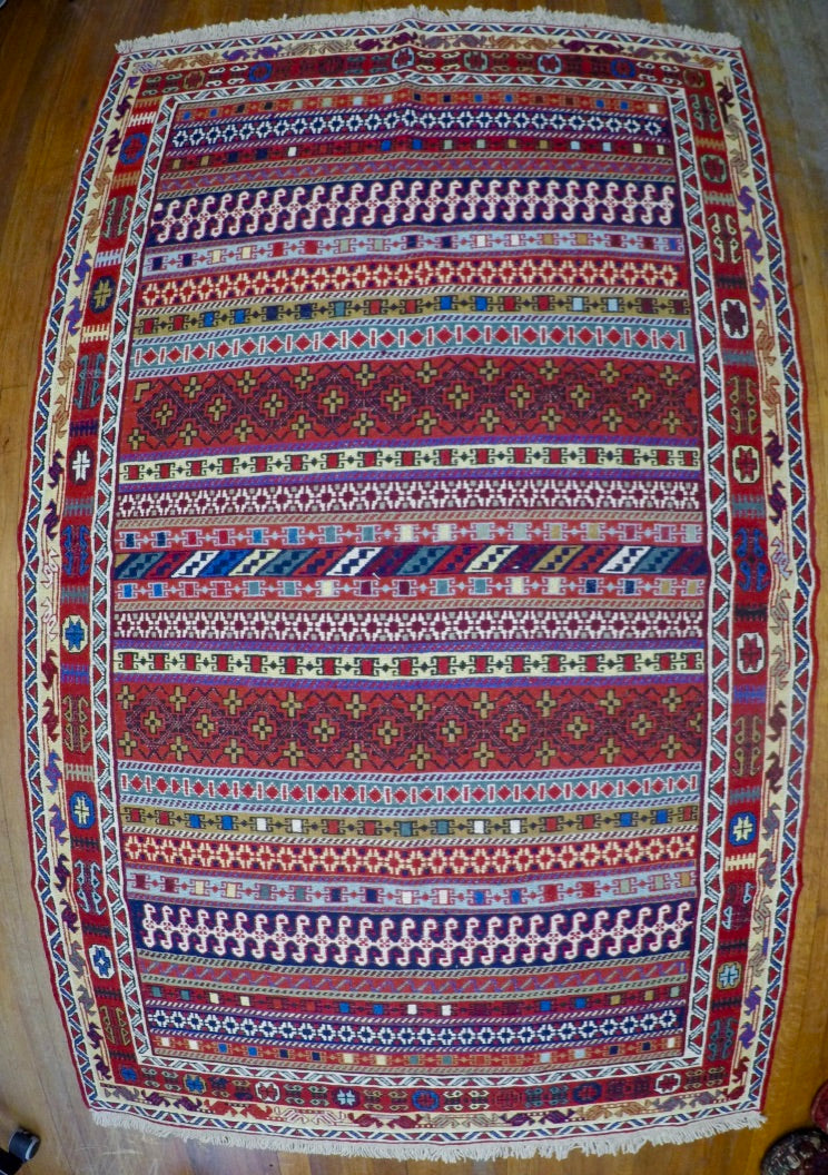 New Wool on Cotton Rahra Soumak 4' X 6'6""