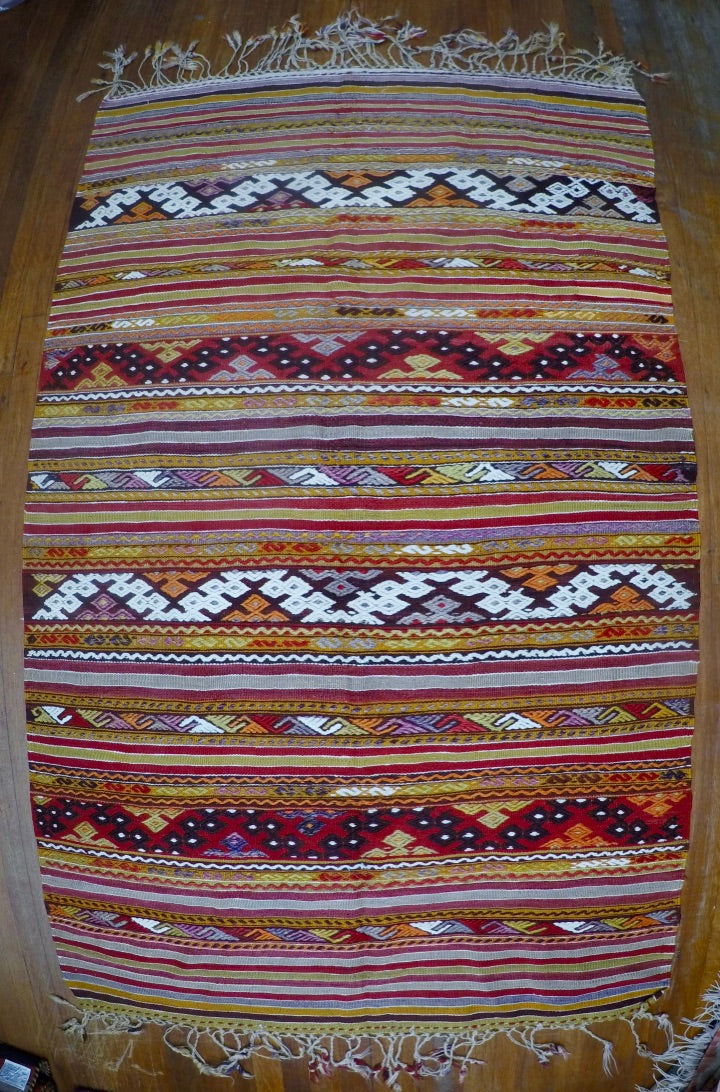 "Vintage Wool on Wool Cicim Kilim 3'7"" X 6'"