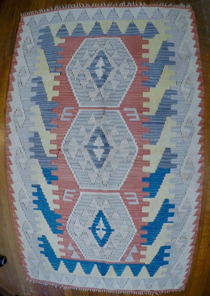 "New Wool on Wool Kilim 3'8"" X 5'9"""