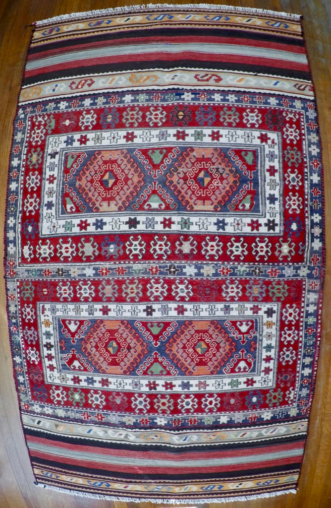 "Vintage Wool on Cotton Soumak Soumak 3'8"" X 6'11"""