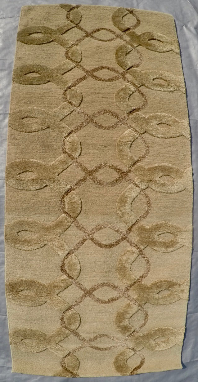 "New Silk and Wool on Cotton Hand-knotted Rug 2'3"" X 5'1"""