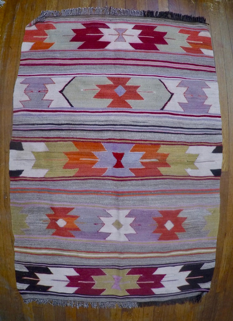"Vintage Wool on Wool Mut Cicim Kilim 3'3"" X 4'11"""