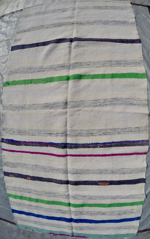 New Handwoven 100% Cotton Scraps Kilim 5'2 X 10'4""