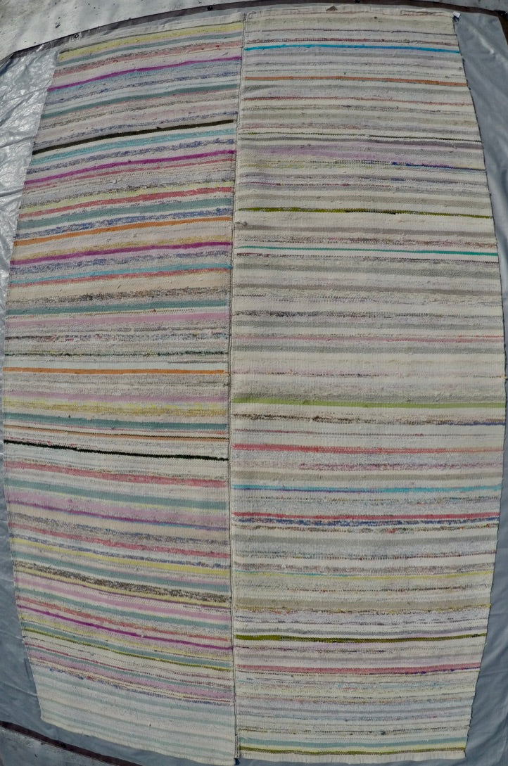 "New Handwoven 100% Cotton Scraps Kilim 5'5"" X 9'5"""