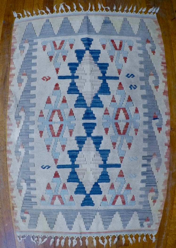 "New Wool on Wool Kilim 2'7"" X 3'11"""