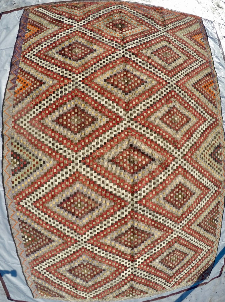 "Vintage Wool on Cotton Cicim Soumak Kilim 6'3"" X 9'9"""