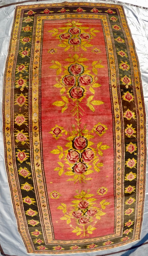 "Vintage Wool on Cotton Knotted Rug 4'4"" X 9'5"""