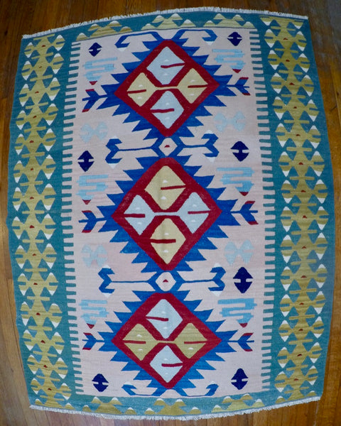 "New Wool on Wool Kilim 3'8"" X 4'11"""